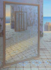 Il pittore nell'atelier(autoritratto,olio su tavola cm.190x140,1996-97