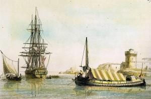 barche e galee dell'Ordine di Malta al porto di La Valletta (fine 700)