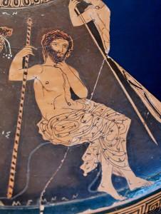 Agamennone con lo scettro (Lekanis attico,v sec.),Museo di Taranto