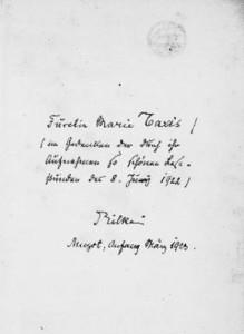 La dedica autografa di Rilke alla Principessa Marie Turn und Taxis su una copia dei Sonetti