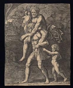 Enea in fuga con Anchise e Ascanio,Sanzio Raffaello,incisionesec.XV