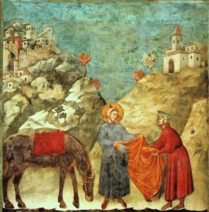 Giotto,Il dono del mantello,1295