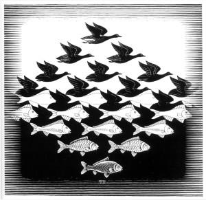 Sky and Water,  di C. Escher, 1938
