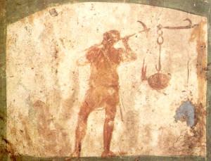 Rappresentazione di un fossore proveniente dalle catacombe romane