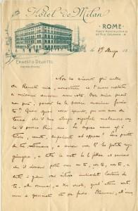 Lettera di Federico De Roberto a Renata (19 Marzo 1899)