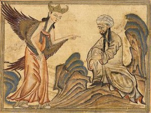 L'Arcangelo Gabriele riporta il Corano,arte islamica