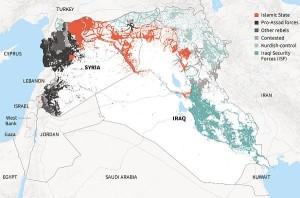 Aree di influenza dell'Isis