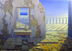 G. Modica, La stanza dell'inquietudine,1990 olio tavola cm.130x180 (collezione privata Roma)