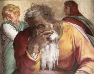 Michelangelo, particolare, il profeta Jeremiah