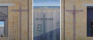 G. Modica, Croce-Fissione di luce, olio su tavola,trittico cm 200x460, 2010