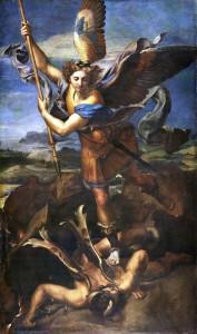 San Michele sconfigge Satana, Raffaello, 1518