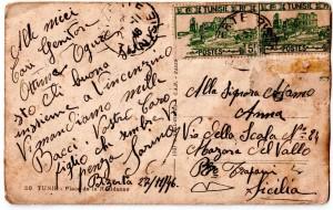 Retro e testo  della cartolina