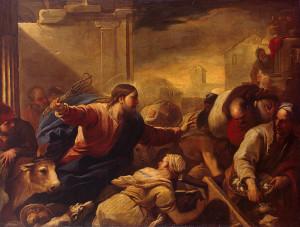 Gesù caccia i mercanti dal tempio, di L. Giordano (1632)