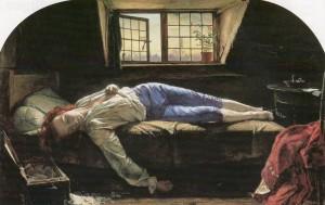 La morte di Chatterton, 1856, dipinto da Henry Wallis
