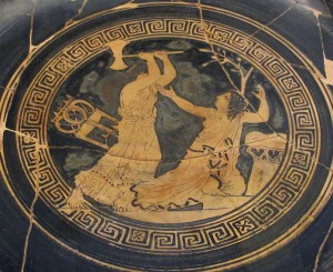 Clitennestra uccide Cassandra, kylix attica a figure rosse, part.