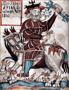 Odino in sella a Sleipnir. Illustrazione di Ólafur Brynjúlfsson dal manoscritto islandese del XVIII secolo Sæmundar og Snorra Edda