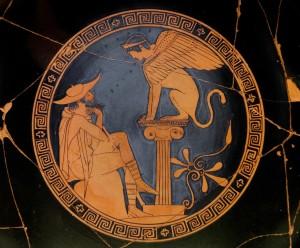 Edipo e la Sfinge, kylix attica a figure rosse, 480-470 a.C.