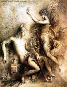 G. Moreau, Esiodo e la Musa, 1857