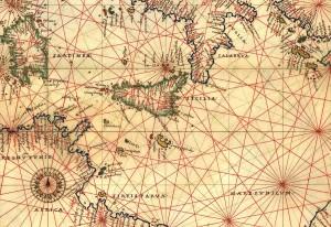 Antica carta nautica del Mediterraneo