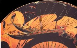 Nave velifera Greca, particolare dipittura vascolare sec.V a.C.