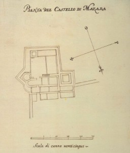 Pianta del  Castello di Mazara, da F. Negro e C. M. Ventimiglia, Pianta del castello.Atlante di città e fortezze del Regno di Sicilia 1640, a cura di Nicolò Aricò, Sicania, Messina 19921.