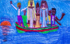 Migranti alla deriva Dipinto su carta, Samuela Ferrandes alunna della classe 3B Scuola Media Dante Alighieri, Pantelleria 2016.