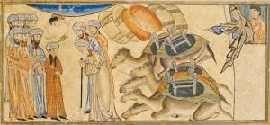 il giovane Maometto è riconosciuto profeta dal monaco eremita Bahira. Miniatura dal libro Jami' al-tawarikh (Compendio delle cronache), Tabriz 1307.