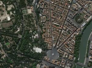 Piazza del Popolo, Roma, vista dall'alto