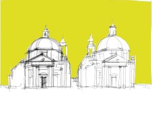 Le due chiese di Piazza del Popolo a Roma (dis. Schiavo)