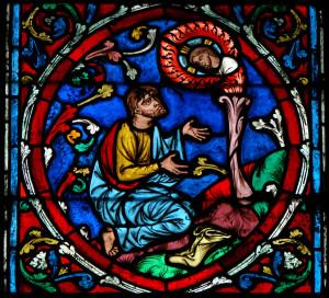 Mosè e il roveto ardente, vetrata di Notre-Dame, Parigi, sec. XII