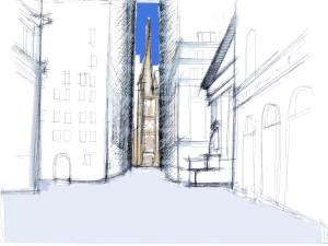 NY, Il canyon degli edifici e il cannocchiale ottico con il terminale di Trinity Church (dis. Schiavo)