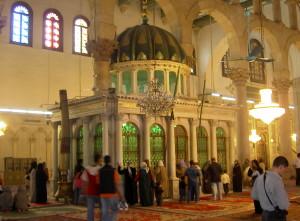 Damasco Moschea Omayade, Reliquiario che conserva la testa di san Giovanni Battista. Meta di pie visite da parte dei musulmani e dei cristiani