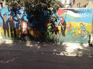 Murales all'esterno del The Freedom Theatre di Nablus (ph. Sinigaglia)
