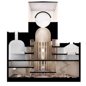 Render dell'interno della House of One (progetto di Simona Malvezzi, Wilfried Kuehn e Johannes Kuehn)