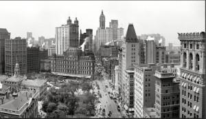 La Broadway nel 1908, con il Post Office e senza il Woolworth