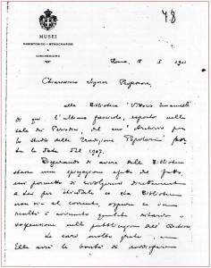 Lettera di Pettazzoni a Pitrè, 18 gennaio 1911