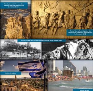 Pannelli di una mostra su Sionismo e Gerusalemme censurata dall'Onu