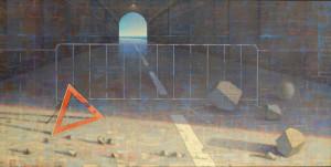 Lavori in corso-luce all'orizzonte, 2009, olio su tavola