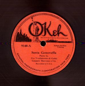 Disco 78 giri, registrato a NY, 1925 (coll. Fugazzotto)