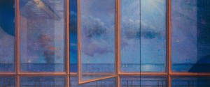 Finestra orizzontale - notturno 2002 olio su tela