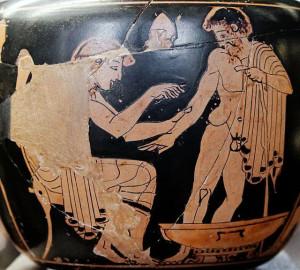 Asclepio visita il paziente, pittura vascolare a figure rosse (v sec. a. C., Museo de Louvre foto2
