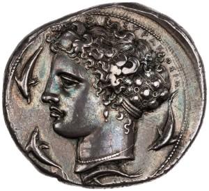 Aretusa su moneta, Siracusa 400 a.C. ca.