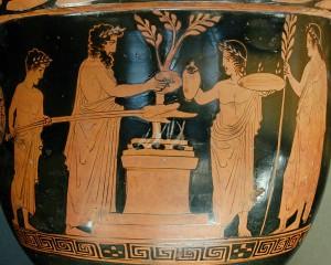 Sacrificio greco, part. cratere attico a figure rosse, 430 a.C.