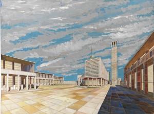 Piano urbanistico e piazza centrale per la nuova città di Melgar.