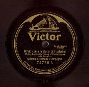 """Nofrio cunta la storia di li paladini. Disco 78 rpm Victor 722778 (10"""") (Collezione Fugazzotto)"""