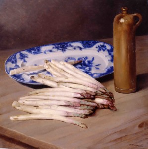 Natura morta con asparagi,1928ca., di F. Trombadori, olio su tela, Galleria d'Arte Moderna di Roma.