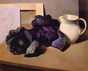 Natura morta con i cavoli rossi, 1937 ca.,di F. Trombadori, olio su tela, Galleria d'Arte Moderna di Roma