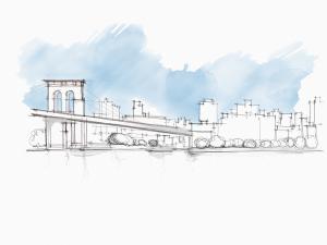 Il Ponte di Brooklyn e il waterfront del distretto (disegno di Schiavo).