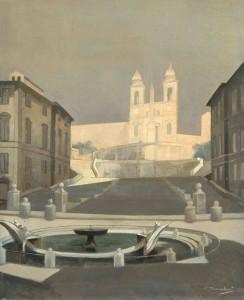 Trinità dei Monti, 1959, di F. Trombadori, olio su tela, coll. privata