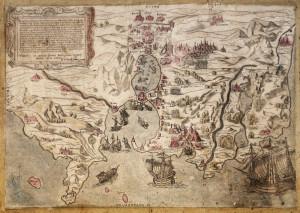 Rara carta del 1602, Tunisi e la Goulette.
